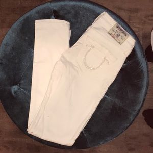 White True religion skinny jeans